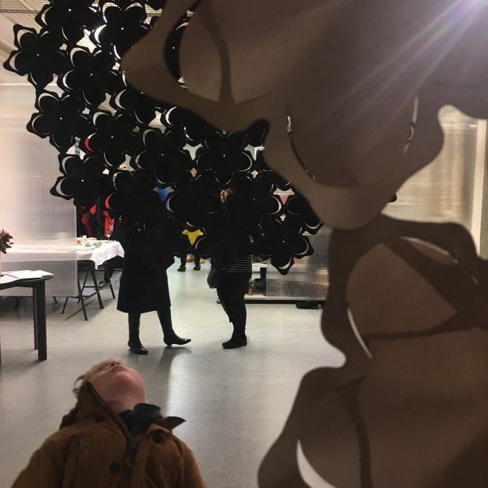 Muotoilusyksy 2017 marraskuun näyttelyssä esilä Inni Pärnäsen Valo-varjo -näyttely.